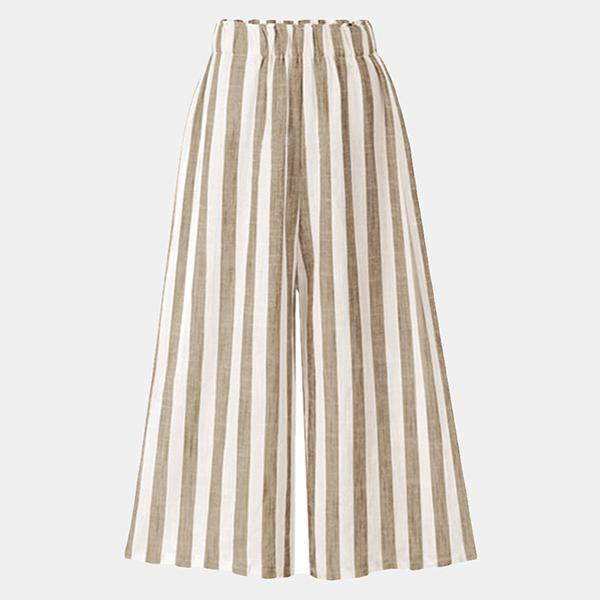 Stripe Loose Casual Elastic Waist Pants