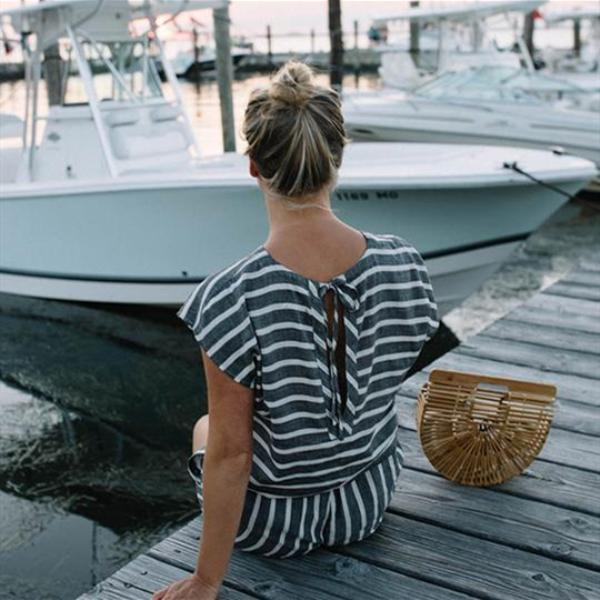 Striped Short Sleeve Rompers Jumpsuits
