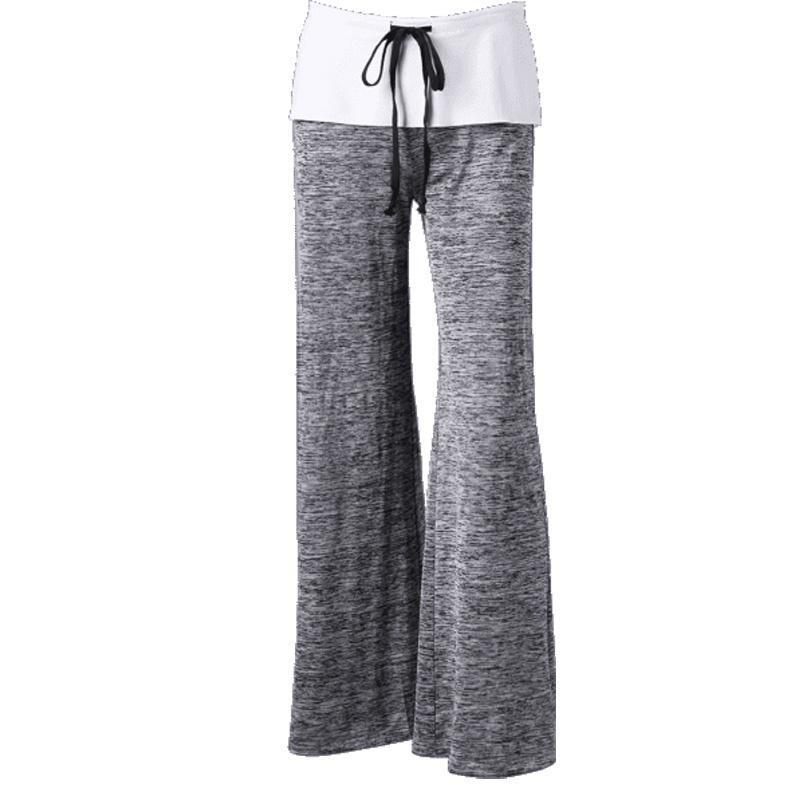 Casual Foldover Heather Wide Leg Yoga Pants