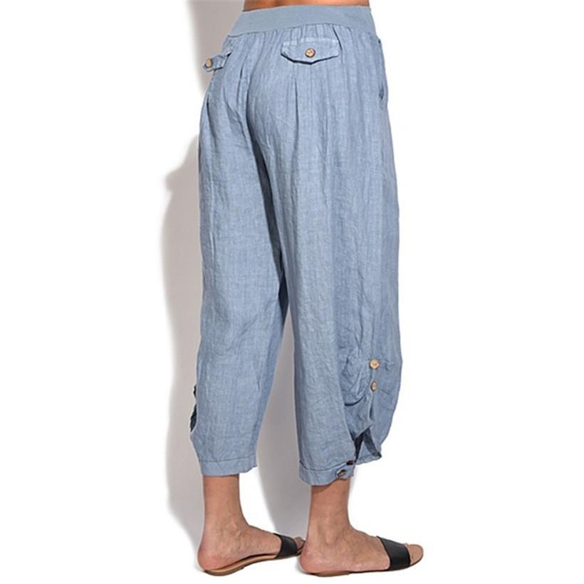 Casual Button Comfy Loose Pants