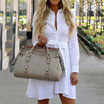 Casual Solid Color Lace-Up Dress