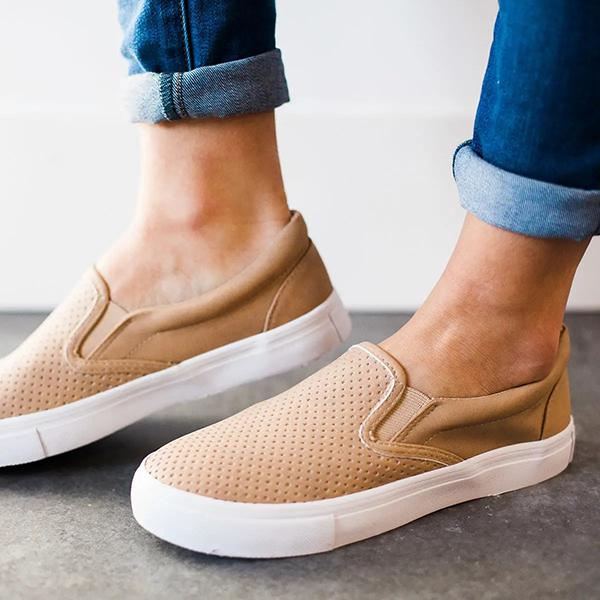 Solid Color Hollow-Out Casual Flat Loafers
