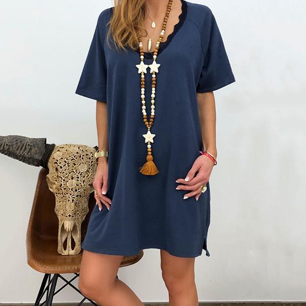 Casual Lace V Neck Loose Dress