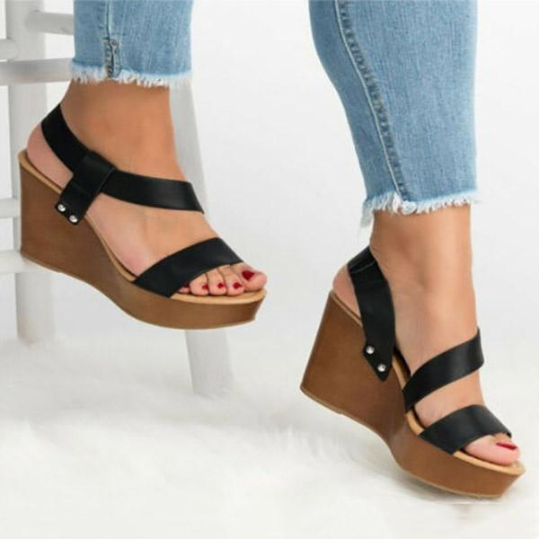 Casual Cross Strap Wedge Sandals
