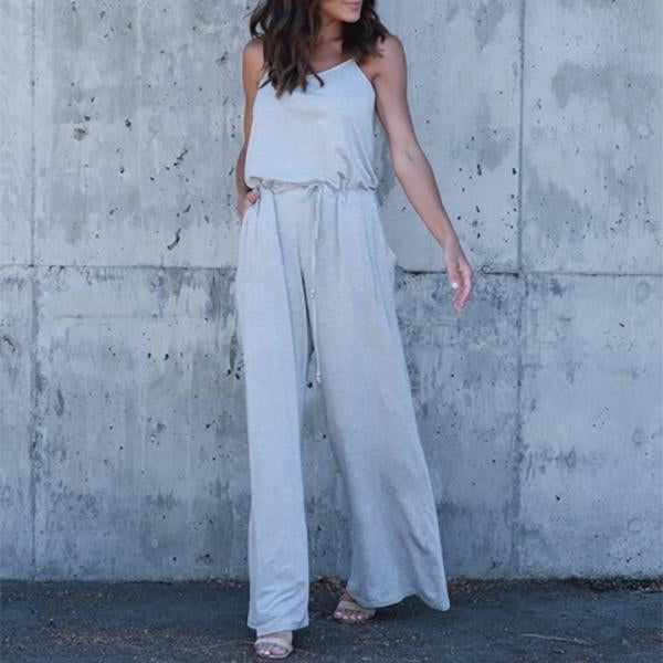 Casual Summer Sleeveless Solid Color Jumpsuit