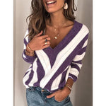 Plus Size Long Sleeve V Neck Geometric Casual Sweaters