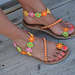Women Handmade Sweet Flower Ankle Strap Sandals
