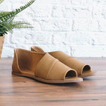 Simple Fish Toe Side Hollow Out Flat Sandals