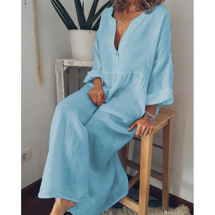 Summer Solid V Neck Long Sleeve Linen Maxi Dresses