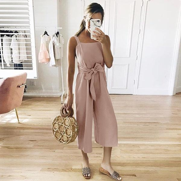 Women Casual Sleeveless Wide Leg Pant Jumpsuit