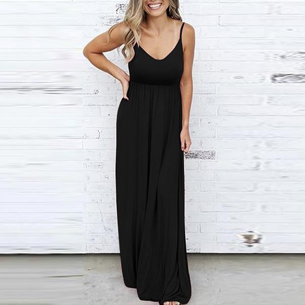 Simple Solid Color Sleeveless Maxi Dresses