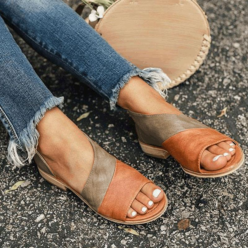 Color Matching Low Square Heel Sandals
