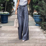 Elegant Solid Color Tie Wide Leg Pants