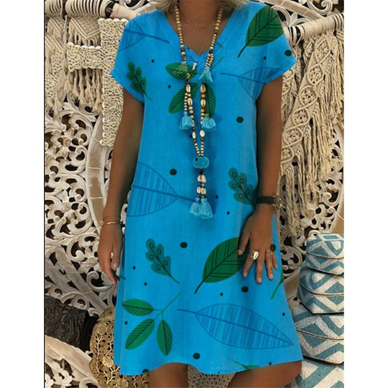 Printed V-neck Short-sleeved Versatile Dress