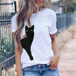 Casual Cat Printed Cotton T-Shirts