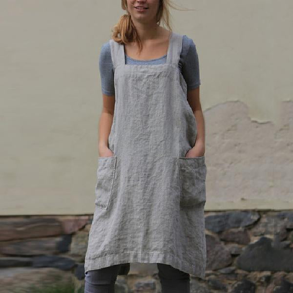 Women Linen Pinafore Dress