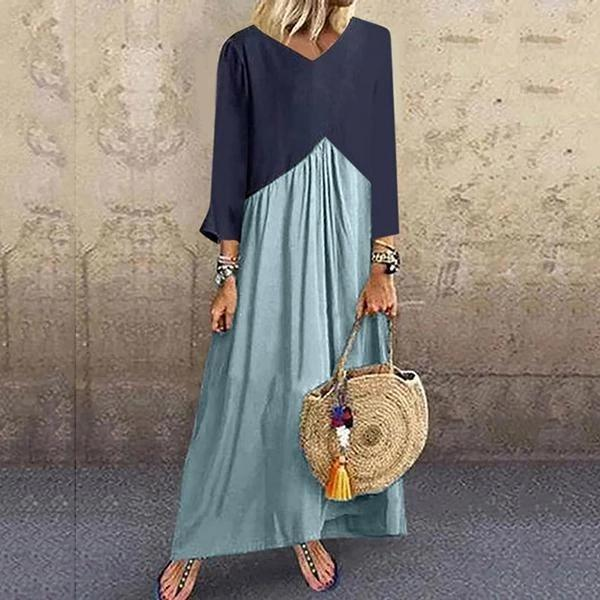 Casual V-Neck Long Sleeve Spliced Dress