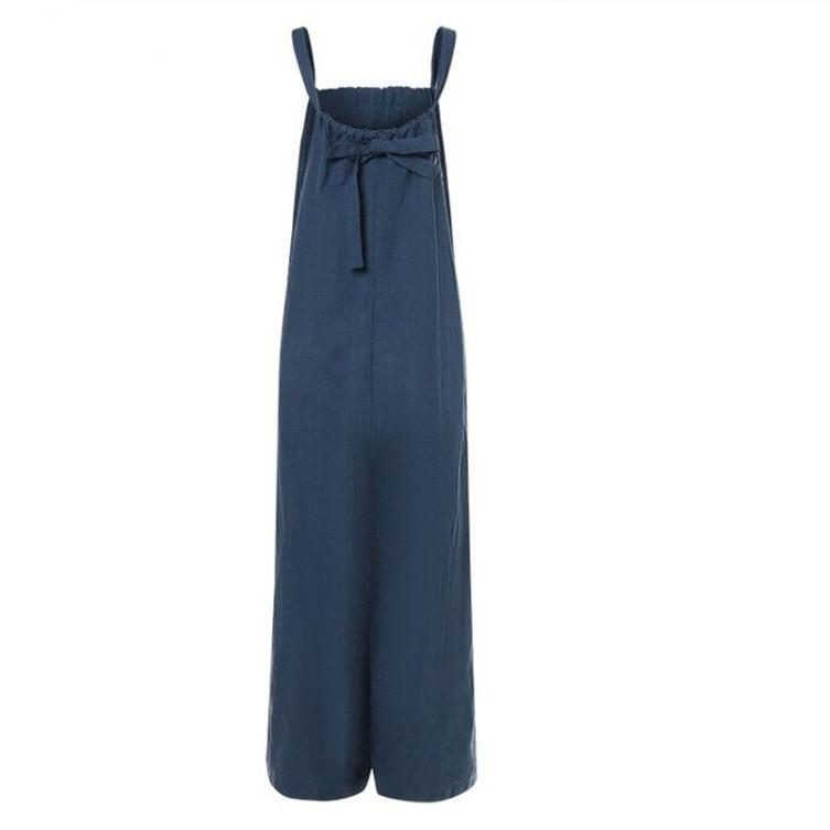 Plus Size Summer Sleeveless Backless Casual Loose Wide Leg Pants Jumpsuits