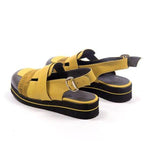 Round Head Thick-strap Buckle Sandals