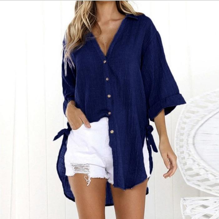 Collar Solid 3/4 Sleeve Pure Color Casual Blouses