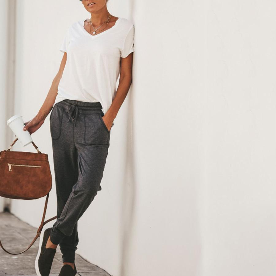 Casual Elastic Waistband Plain Pants