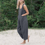 Casual Solid Color Sleeveless Wide Leg Jumpsuits - MagCloset