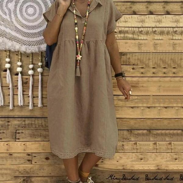 Linen Cotton Solid Color Short Sleeve Midi Dress
