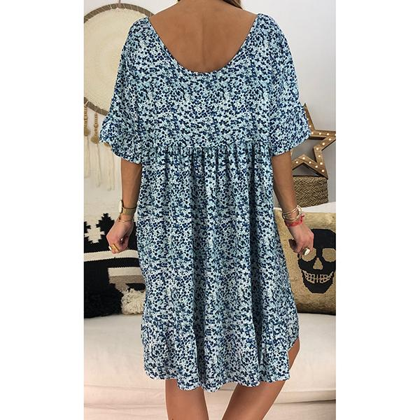 Plus Size Floral Printed Loose Dresses