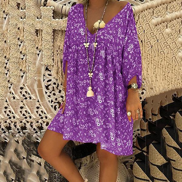 V Neck Long Sleeve Floral Mini Dress