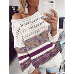 Printed Casual Loose Openwork Autumn Women's Sweaters