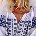 Bohemian Style Plus Size Embroidered V Neck Shirts