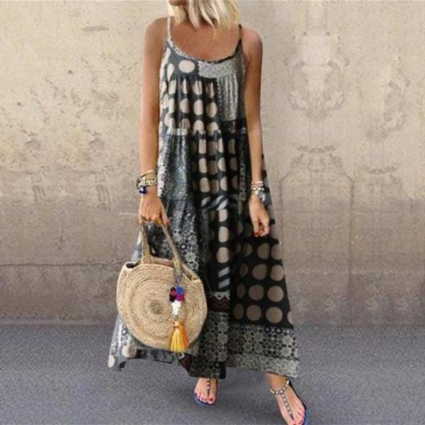 Plus Size Women's Casual Loose Print Sling Maxi Dress