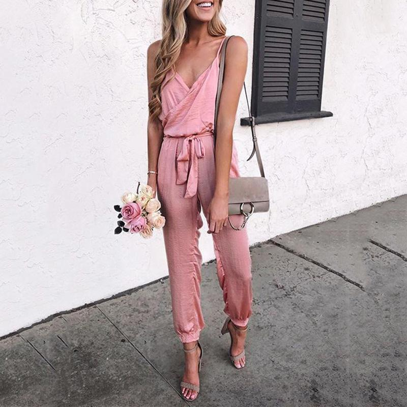 Casual Solid Color Belt Jumpsuits
