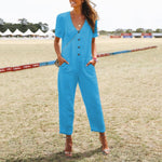 V-neck Button Short Sleeve Jumpsuits