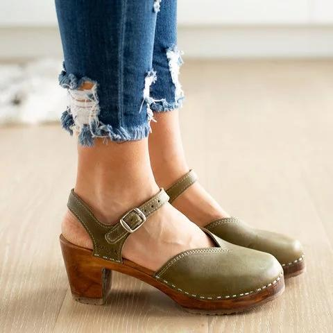Women Vintage Buckle Strap Sandals Clogs Shoes