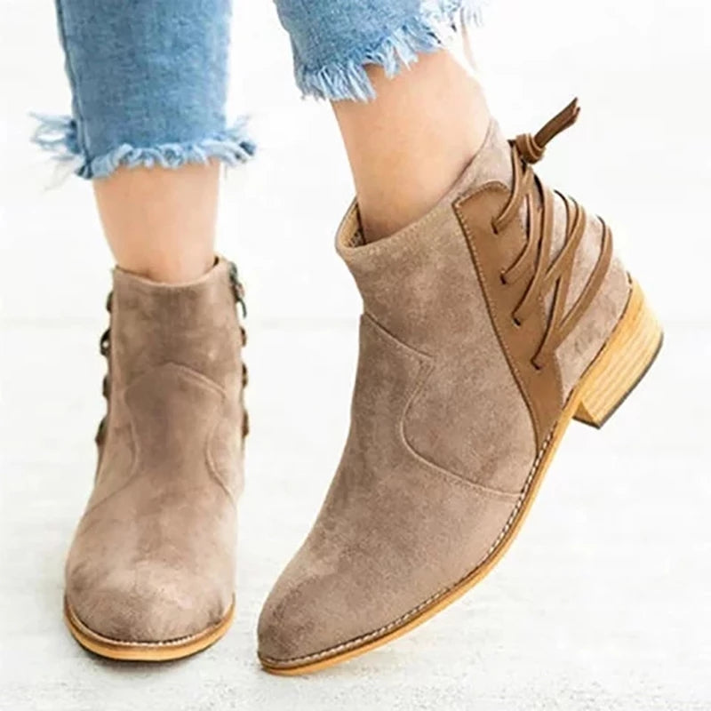 Back Lace Side Zipper Suede Ankle Boots