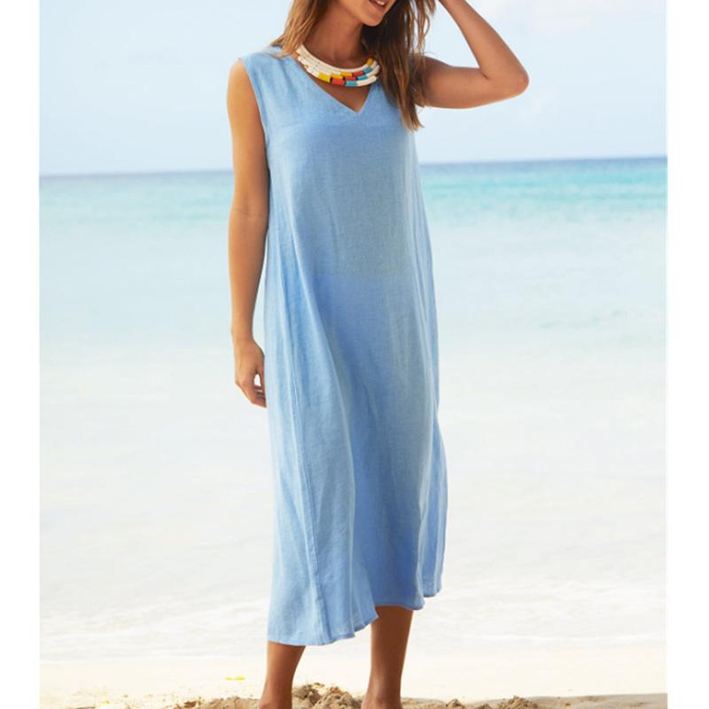 Solid V Neck Sleeveless Casual Dress