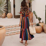Rainbow Stripe Print Dress