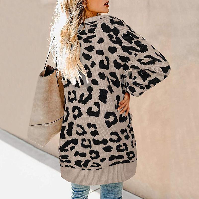 Lantern Sleeved Buttoned Leopard Printed Cardigan Sweaters