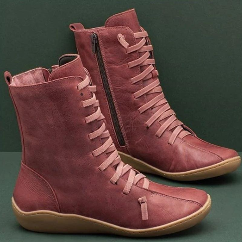 Women Vintage Style Lace Up Boot Shoes