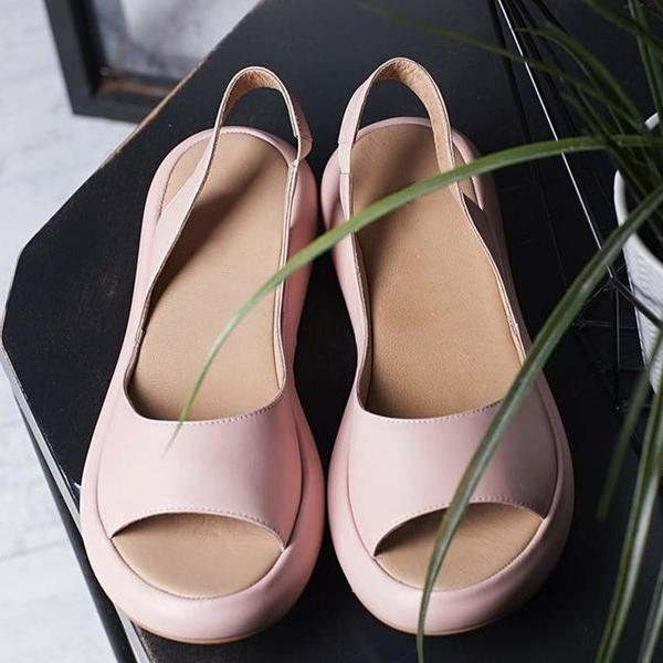 Casual Leather Peep Toe Sandals