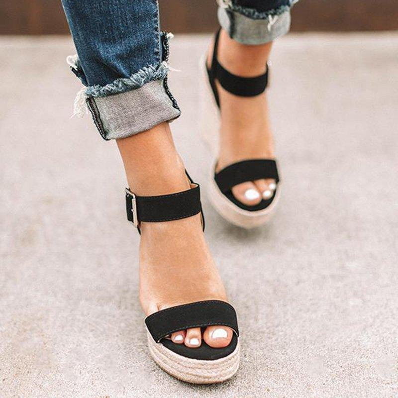 Elegant Adjustable Buckle Espadrille Wedge Sandals