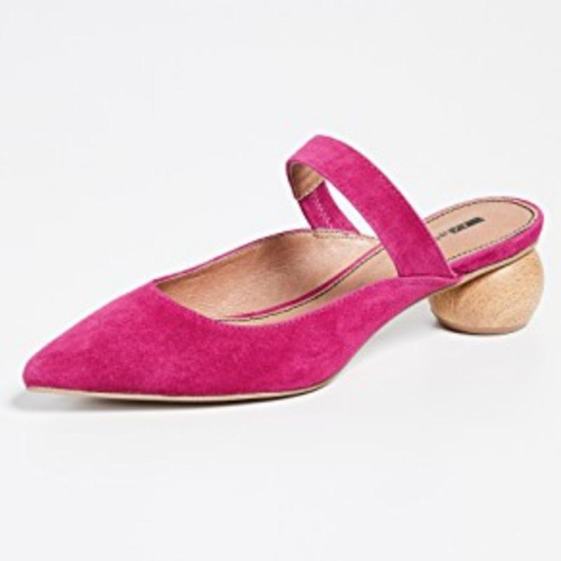 Women Chic Mule Heeled Sandals Casual Slide Shoes