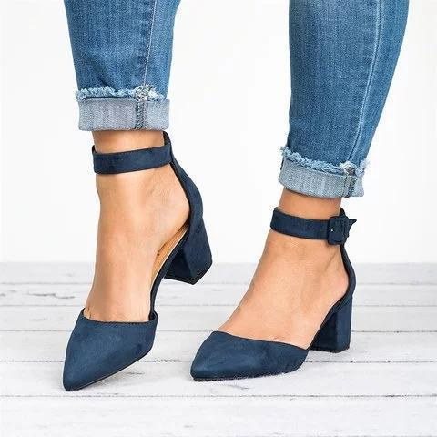 Pointed Toe Chunky Heel Pumps Buckled Heel Sandals