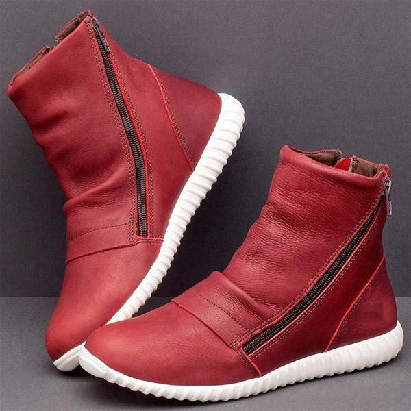 Fashion Side Zipper Flat Short Boots