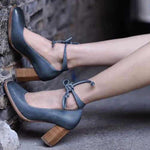 Vintage Lace-up Thick Heel Shoes