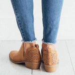 Vintage Low Heel Hollow Boots