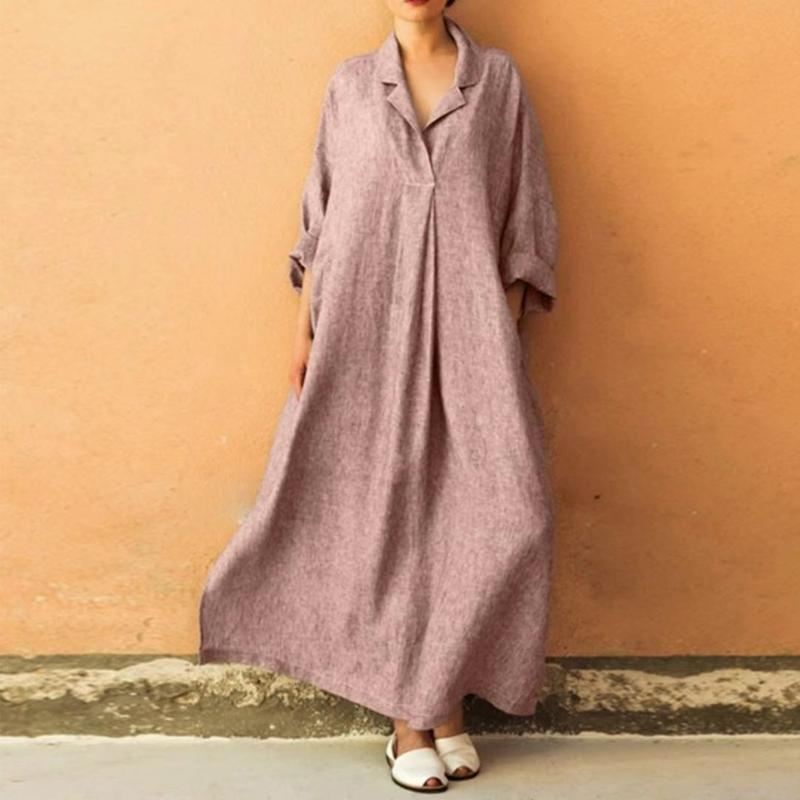 Large Size Cotton Basic Long Sleeve A-line Midi Dress