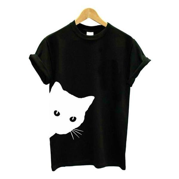 Cat Looking Out Side Print Women Tshirt Cotton Casual Funny T Shirt for Lady Girl Top - MagCloset