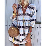 Bohemian Printed V-neck Short Dress
